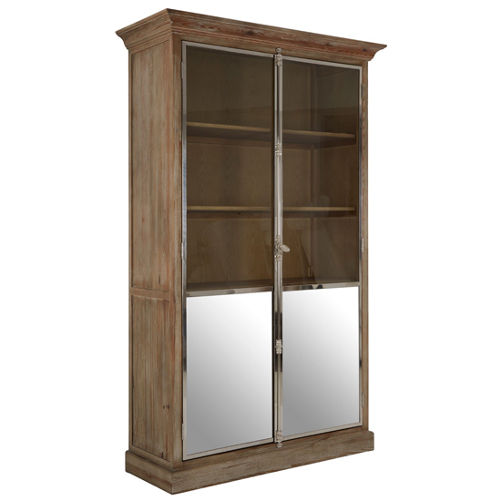 Mintaka Wooden Display Cabinet In Brown With 2 Doors