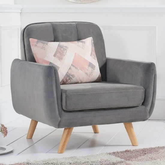 Rickey Velvet Armchair In Grey With Solid Wood Legs_1