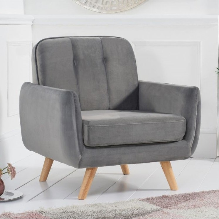 Rickey Velvet Armchair In Grey With Solid Wood Legs_2