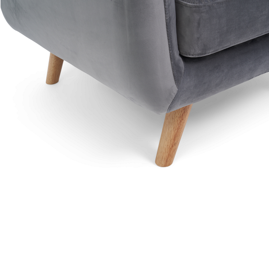 Rickey Velvet Armchair In Grey With Solid Wood Legs_4