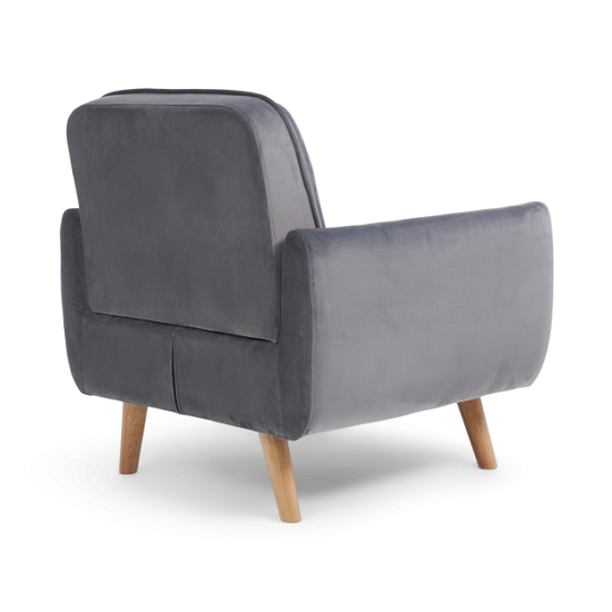 Rickey Velvet Armchair In Grey With Solid Wood Legs_5
