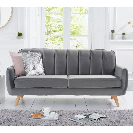 Rickey Velvet Three Seater Sofa In Grey With Solid Wood Legs