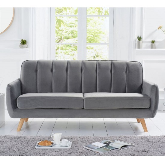 Rickey Velvet Three Seater Sofa In Grey With Solid Wood Legs_2