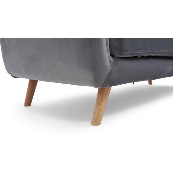 Rickey Velvet Three Seater Sofa In Grey With Solid Wood Legs_4