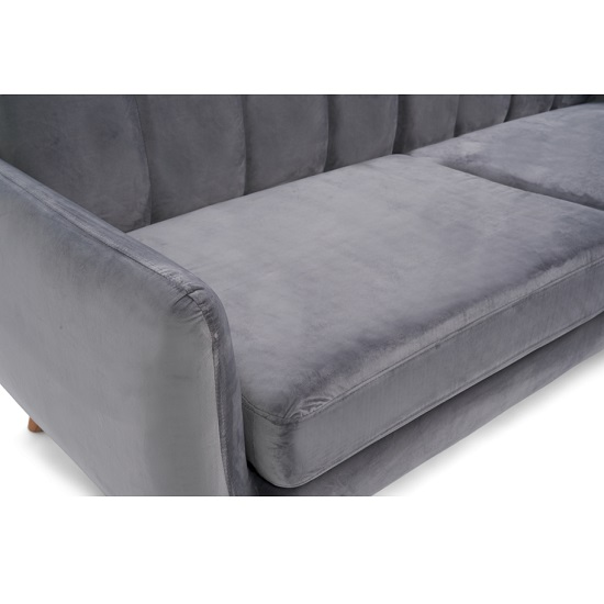 Rickey Velvet Three Seater Sofa In Grey With Solid Wood Legs_5