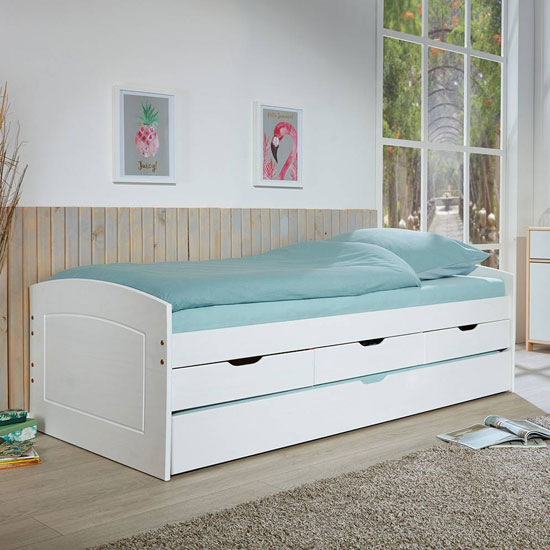 Rieka 1 Wooden Function bed Single Bed In White