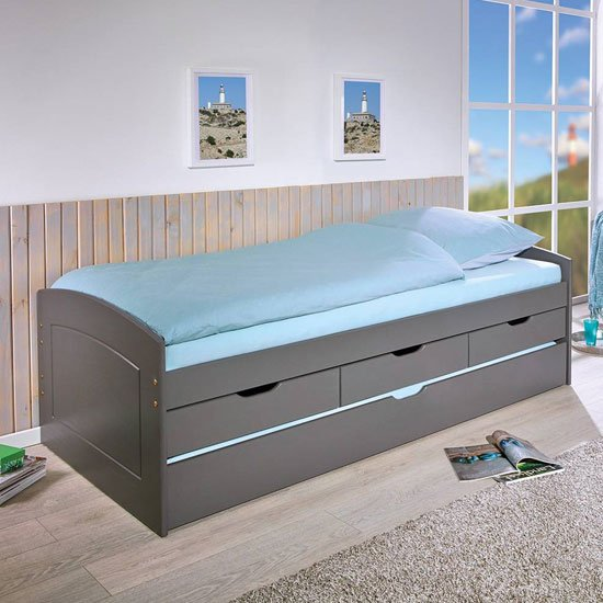 Rieka Wooden Function bed Single Bed In Grey
