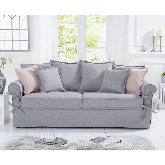 Riggs Linen Three Seater Sofa In Grey With Padded Seat And Back_1