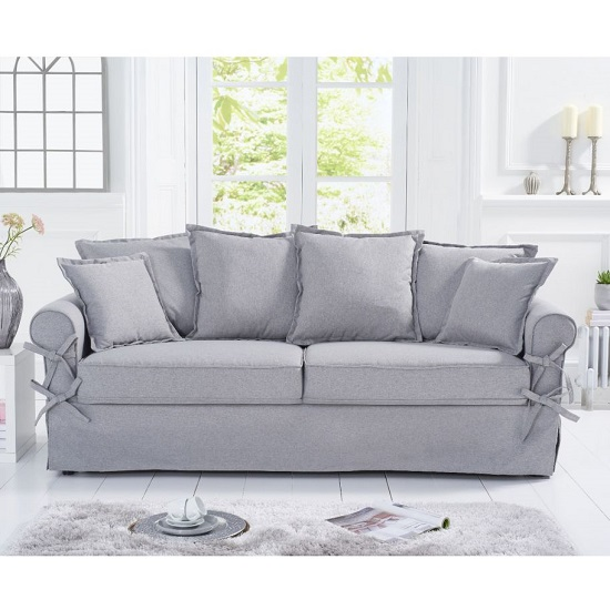 Riggs Linen Three Seater Sofa In Grey With Padded Seat And Back_2