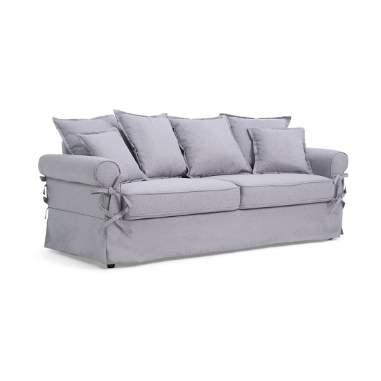 Riggs Linen Three Seater Sofa In Grey With Padded Seat And Back_4