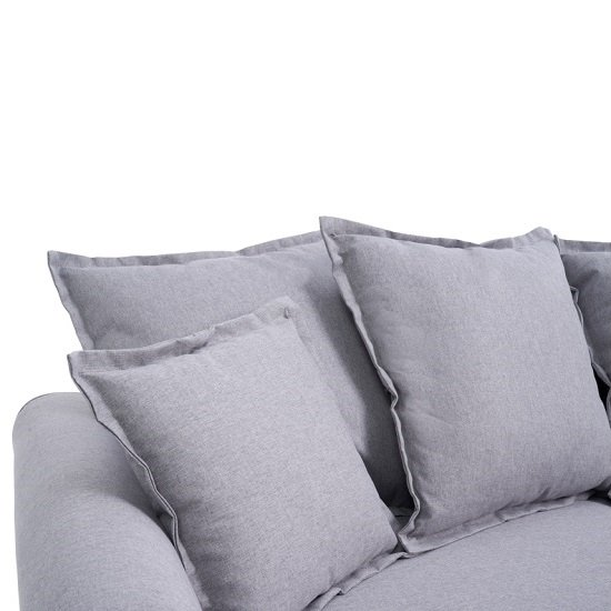 Riggs Linen Three Seater Sofa In Grey With Padded Seat And Back_5