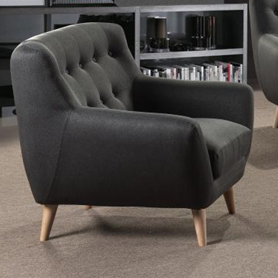 Rihanna Fabric Upholstered 1 Seater Sofa In Grey_1