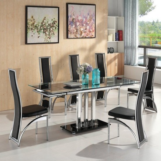 Dining Chairs Chicago: Rihanna Extendable Glass Dining Set Black And 6 Chicago