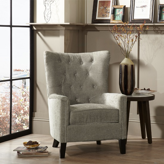 Riley Fabric Sofa Chair In Mink With Wooden Legs_1