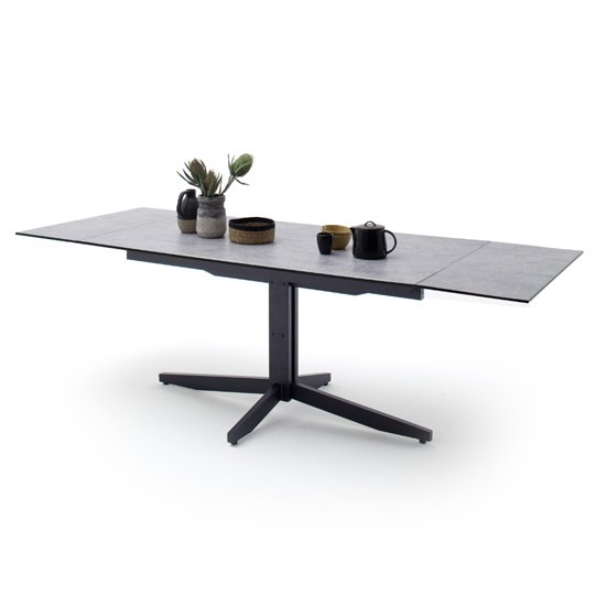 Rimini Extending Glass Dining Table In Concrete Effect