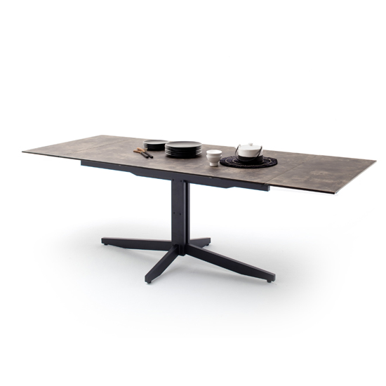 Rimini Extending Glass Dining Table In Stone Brown Effect