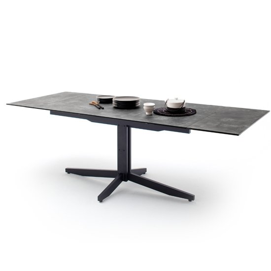 Rimini Extending Glass Dining Table In Stone Grey Effect