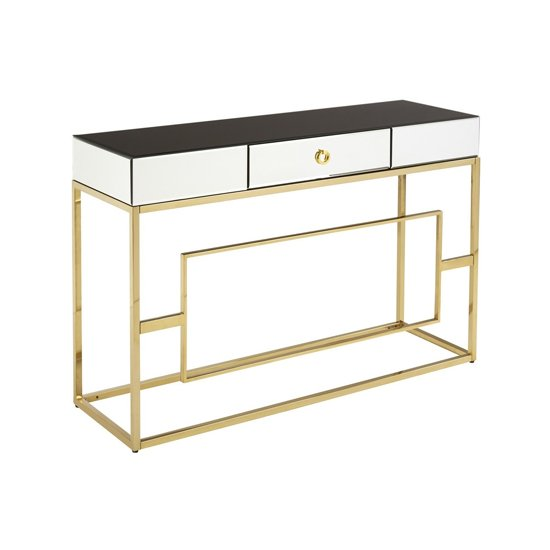 View Misam glass top console table in black and gold