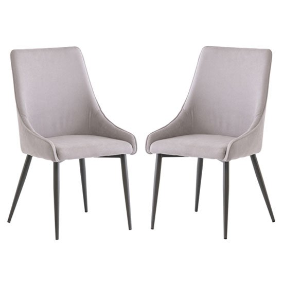 Rimini Grey Fabric Dining Chair In A Pair