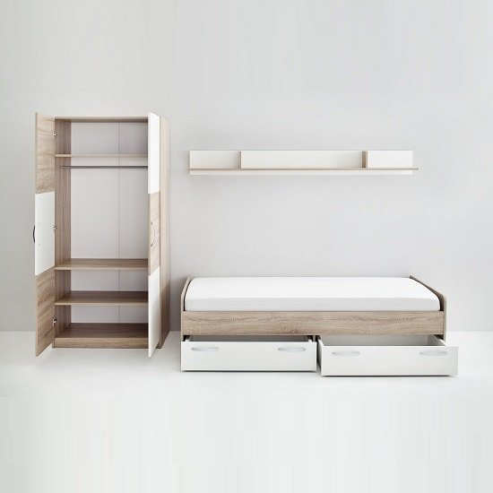 Rimini Childrens Bed In Sawn Oak And White_3