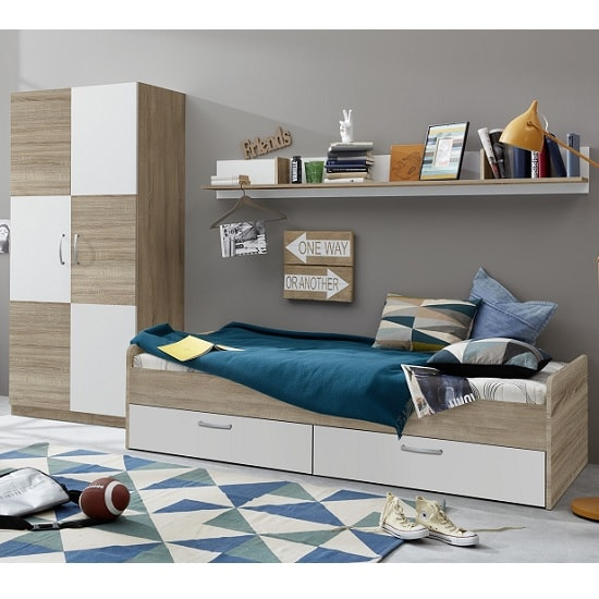 Rimini Childrens Bed In Sawn Oak And White_2