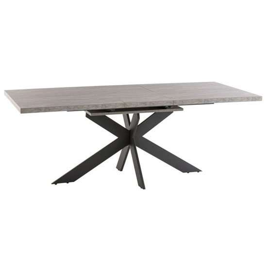 Rimini Marble Effect Extending Dining Table In Light Grey