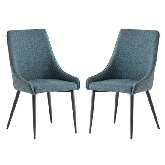 Rimini Teal Fabric Dining Chair In A Pair
