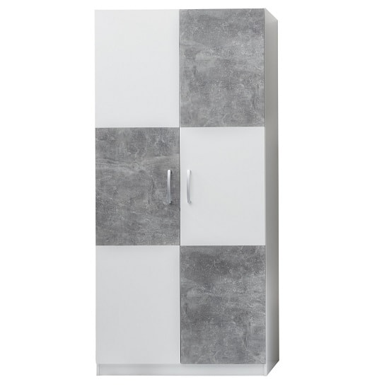Image of Rimini Childrens Wardrobe In White And Stone Grey