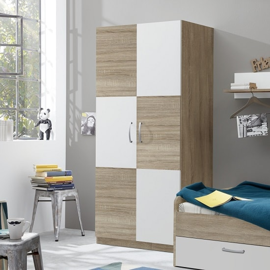 Image of Rimini Childrens Wardrobe In Sawn Oak And White
