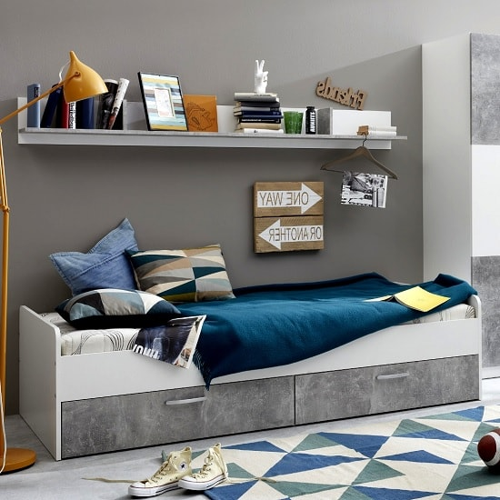 Rimini Childrens Bed In White And Stone Grey_1