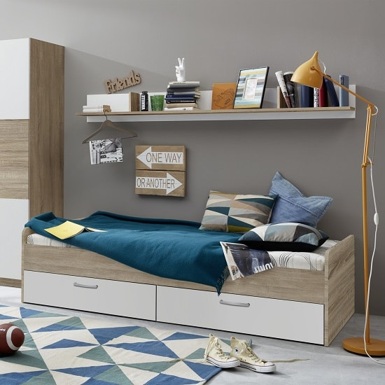 Rimini Childrens Bed In Sawn Oak And White