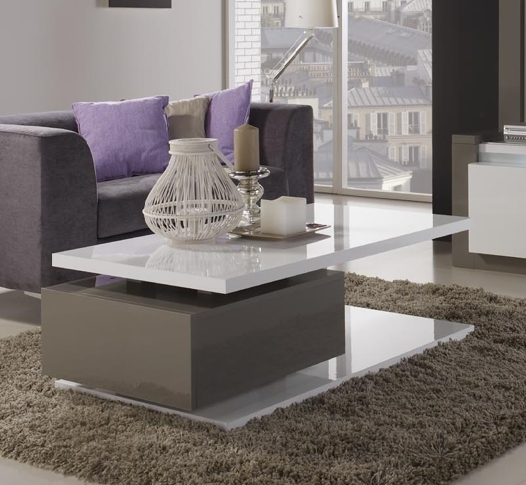Renoir Coffee Table In High Gloss Taupe And Grey