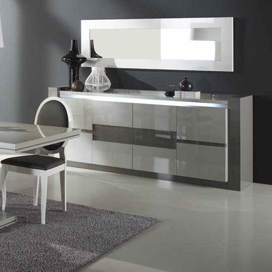 Renoir Sideboard In Taupe And Grey Gloss With Lights And Mirror