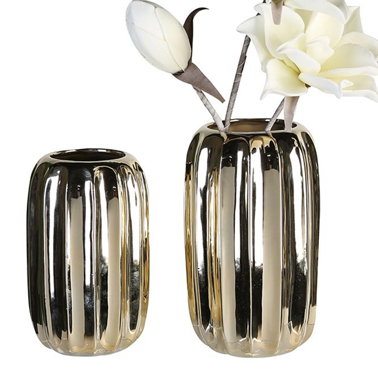 Rims Ceramic Set Of 2 Decorative Vase In Champagne And Gold