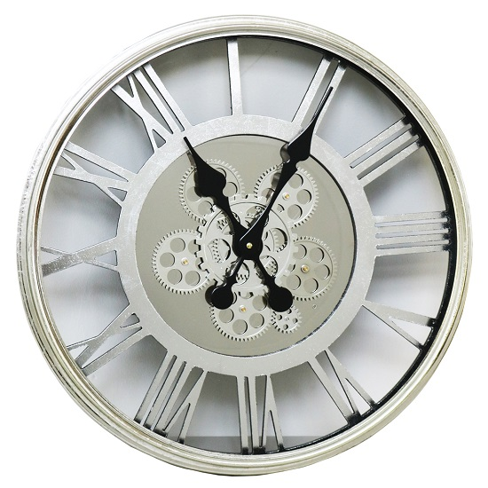Rinan Round Wall Clock In Silver With Roman Numerals