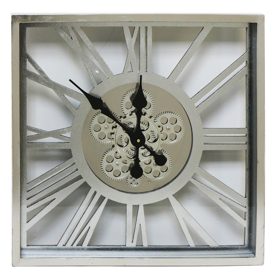 Rinan Square Wall Clock In Silver With Roman Numerals