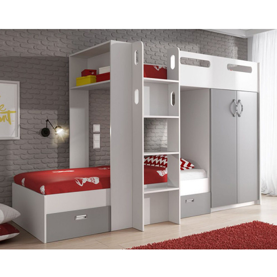 Ringgold Wooden Bunk Bed In White And Grey