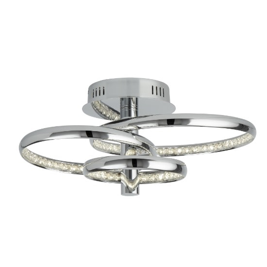 Rings Ceiling Flush Light In Chrome With Clear Crystal
