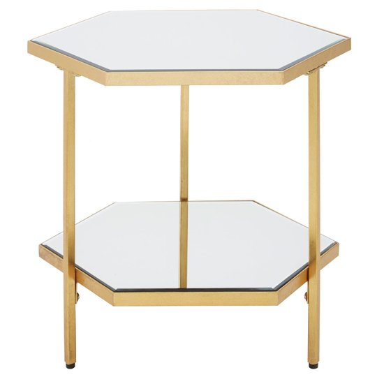 Rio 2 Shelves Side Table With In Gold Mirrored Glass Top