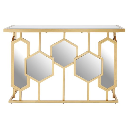 View Moldoveanu metal console table in gold with glass top