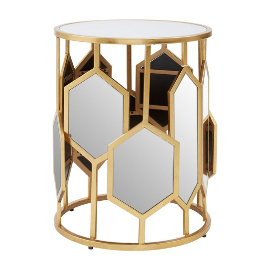 View Moldoveanu metal side table in gold with mirrored glass top