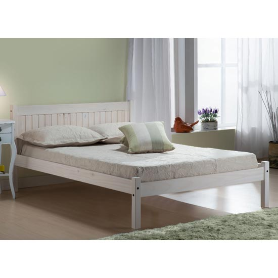 Rio Wooden Single Bed In White Washed