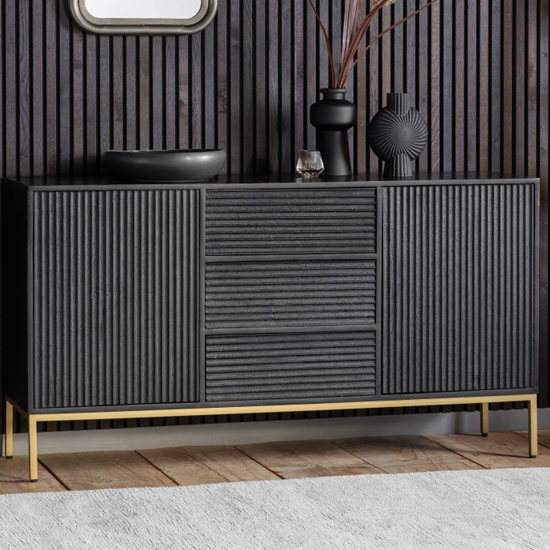 Ripcent Wooden 2 Doors 3 Drawers Sideboard In Black