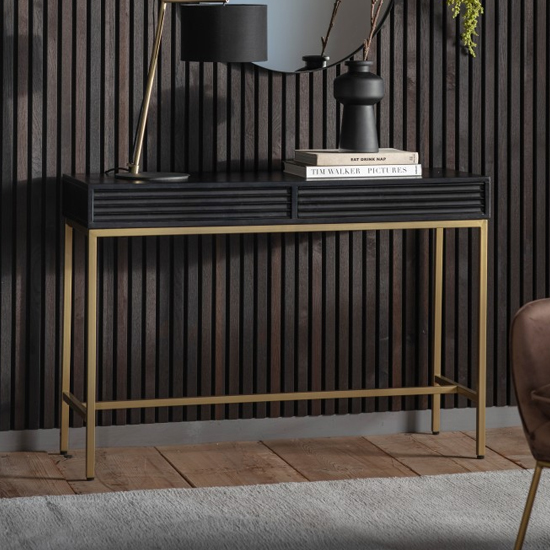 Ripcent Wooden 2 Drawers Console Table In Black