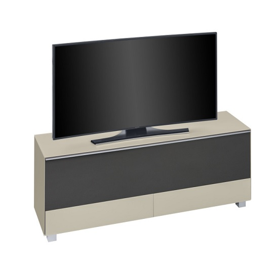 Ripley TV Stand In Sand Matt Glass And Black Acoustic
