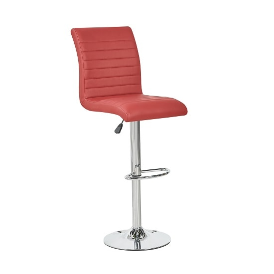 Ripple Bar Stool In Bordeaux Faux Leather With Chrome Base
