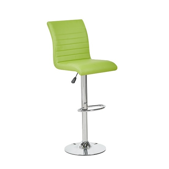 Ripple Bar Stool In Lime Green Faux Leather With Chrome Base
