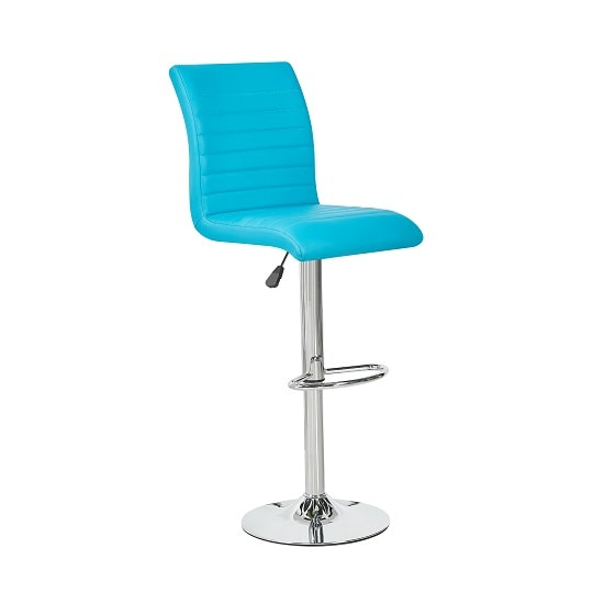 Ripple Bar Stool In Turquoise Faux Leather With Chrome Base