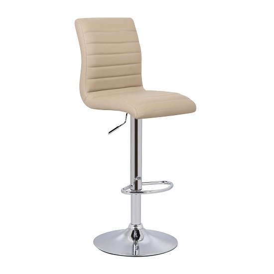 Ripple Bar Stool In Stone Faux Leather With Chrome Base