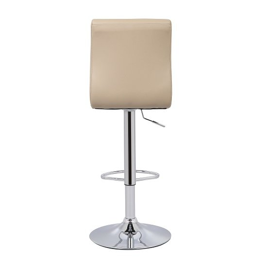 Ripple Bar Stool In Stone Faux Leather With Chrome Base_4